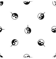 Yin yang symbol pattern seamless black vector
