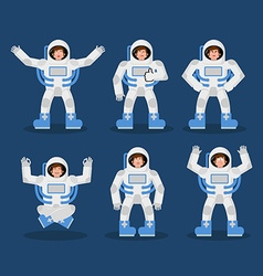 Astronaut set of movements spaceman set of poses vector image
