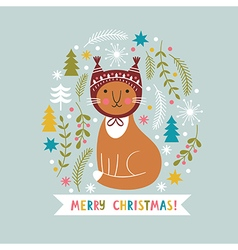 Christmas card with cute cat vector image vector image