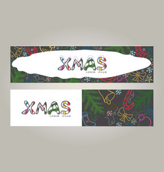 christmas doodle color banners vector image vector image