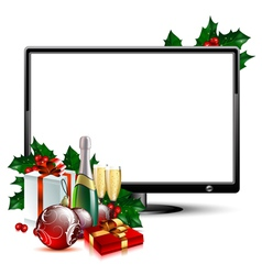 LCD panel with christmas vector image vector image