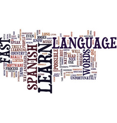 Learn spanish fast text background word cloud vector