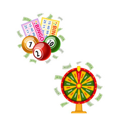 lottery symbols - fortune wheel bingo cards kegs vector image