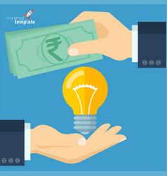 rupee for bright idea vector image vector image