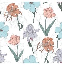 Vintage flowers pastel seamless pattern vector