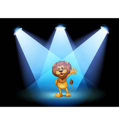 A stage with a lion waving in the middle vector image vector image