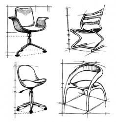 chairs drawings vector image vector image
