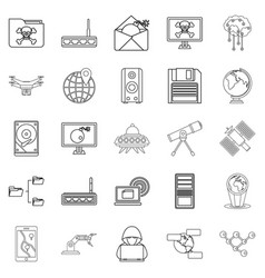 Future icons set outline style vector