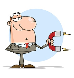 Happy Businessman Using A Magnet vector image vector image