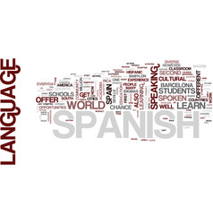 Learn spanish in spain text background word cloud vector