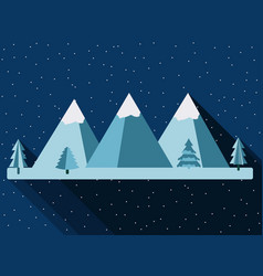 mountains in a flat style with a long shadow vector image vector image