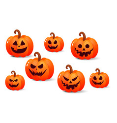 set of vintage happy halloween pumpkin vector image