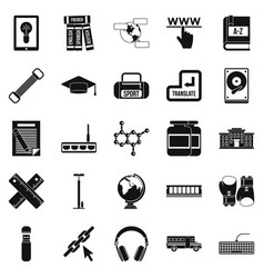 Theory icons set simple style vector
