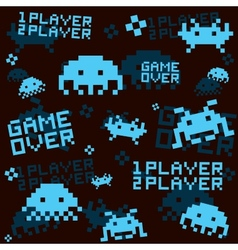 Black space invaders pattern vector image vector image