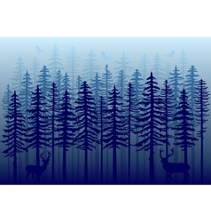 Blue winter forest vector image