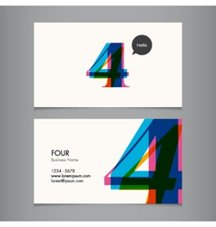 business card with number 4 vector image vector image