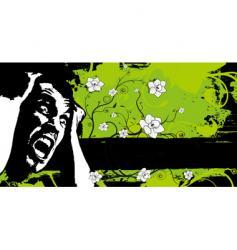 grunge floral fear banner vector image vector image
