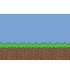 pixel art meadow green brown background vector image