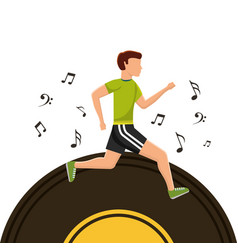 sport man running vinyl disk music note vector image