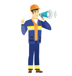 young asian builder making announcement vector image vector image