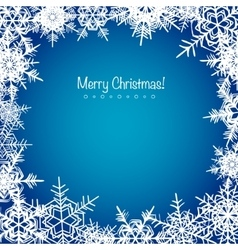 Blue frosty Christmas snowflakes background vector image