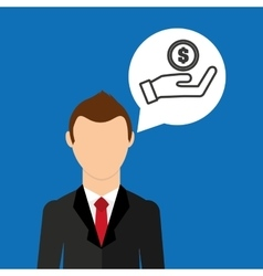 businessman character hand hold money coin vector image
