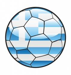 flag of Greece on soccer ball vector image