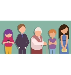 People standing in line and waiting vector image vector image