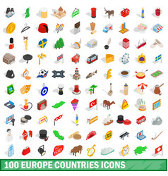 100 europe countries icons set isometric 3d style vector image