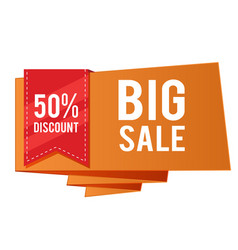 50 discount big sale red ribbon orange banner vec vector image