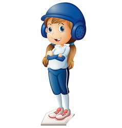 A baseball player in her blue uniform vector image