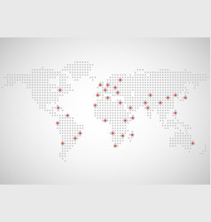 abstract world map of dots capitals countries vector image