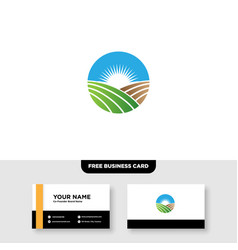 Agriculture farming logo and business card vector