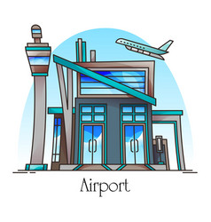 airport building with runway exterior view vector image
