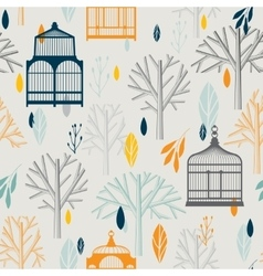 Autumn pattern with vintage birdcages in retro vector image