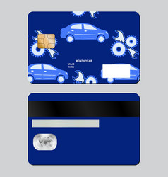 Bank card auto repair subjects sample design vector