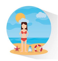 Beach sunny day woman sunscreen starfish sea vector