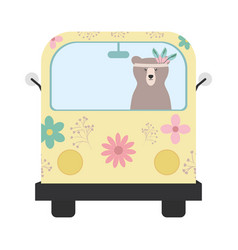 bear grizzly with feathers hat in hippie van vector image