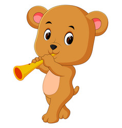 bear playing saxophone vector image