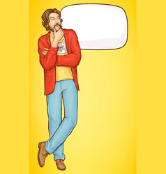 bearded pensive hipster man whats up to something vector image