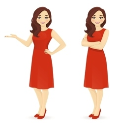 Beautiful woman in red dress vector image vector image