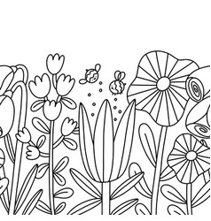 big cartoon flowers seamless composition outline vector image