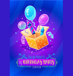 Birthday party gift box vector