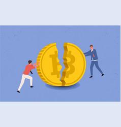 Bitcoin price drops annoyance panic vector