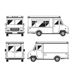 Blank commercial food truck in different points of vector
