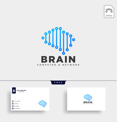 Brain tech digital logo template icon element vector