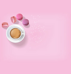 breakfast coffee and macaroons realistic vector image