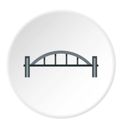 Bridge with round pillars icon flat style vector