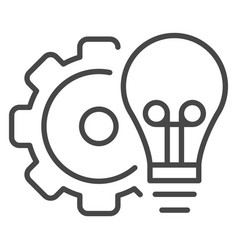 bulb gear wheel icon outline style vector image