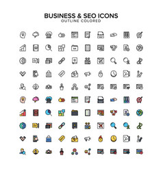 business and seo outline colored icons vector image